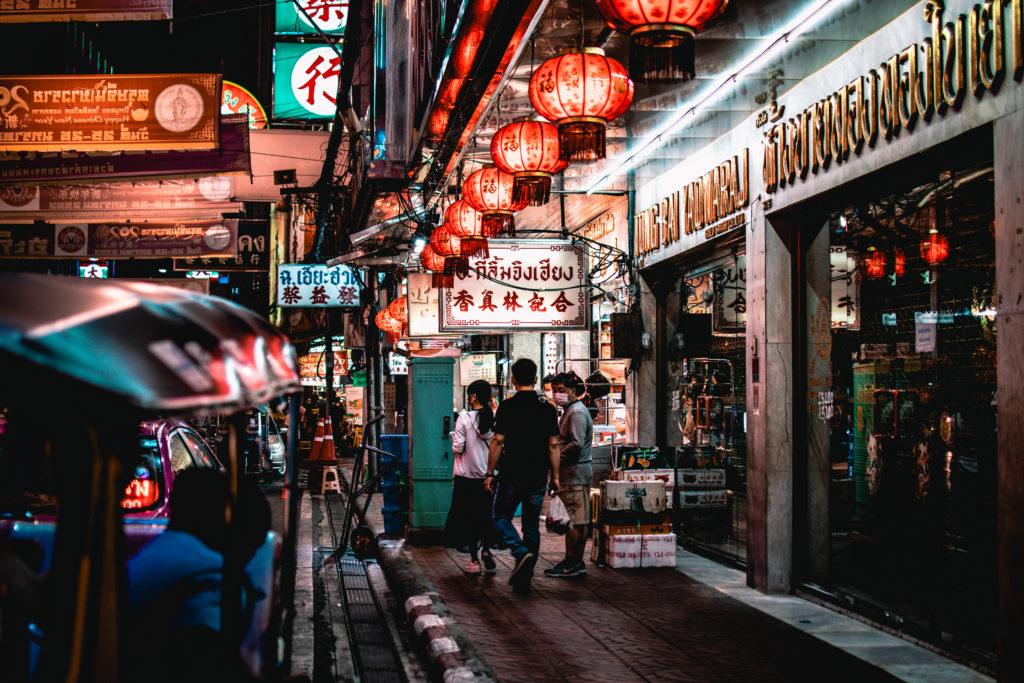 Bangkok at night in color