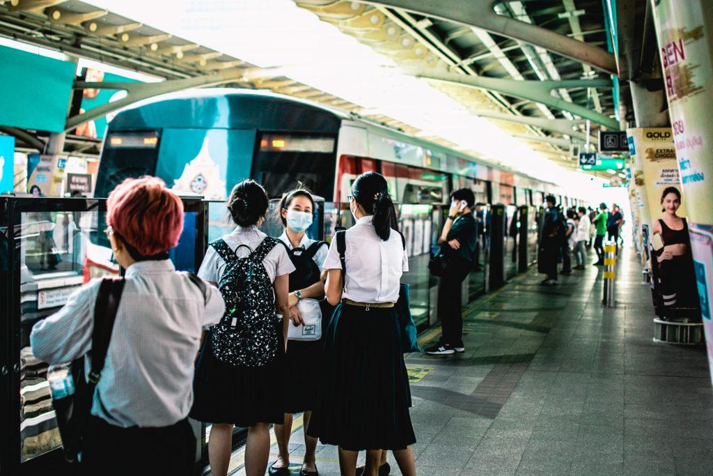 Schoolgirls waiting in Bangkok